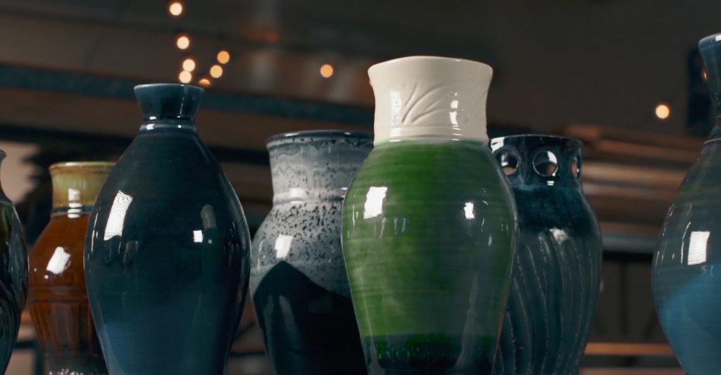Pottery arranged beautifully.